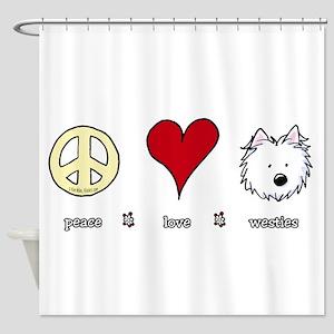 Peace Love Westies Shower Curtain