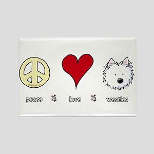 Peace Love Westies Rectangle Magnet