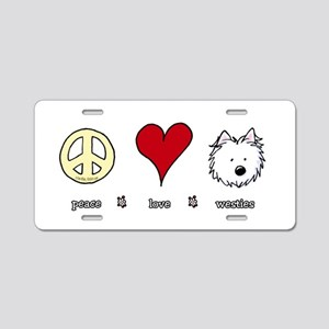 Peace Love Westies Aluminum License Plate