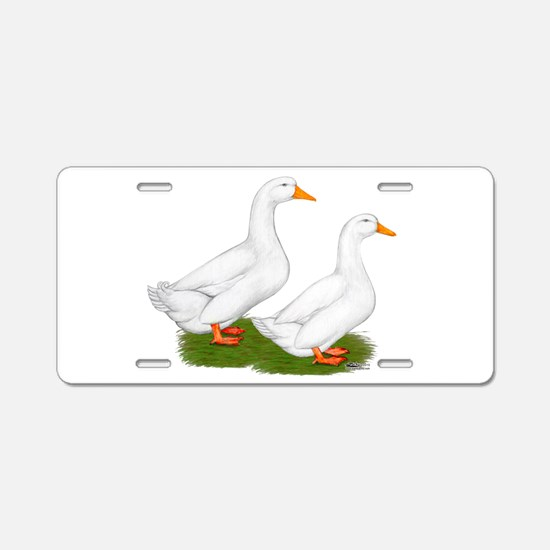 White Pekin Ducks 2 Aluminum License Plate