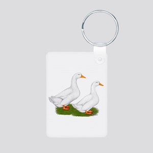 White Pekin Ducks 2 Aluminum Photo Keychain