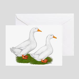 White Pekin Ducks 2 Greeting Card
