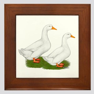 White Pekin Ducks 2 Framed Tile