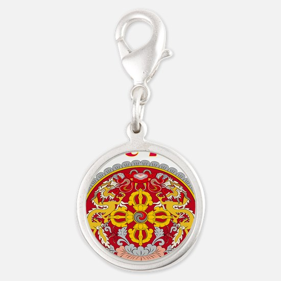 Bhutan Coat of arms Silver Round Charm