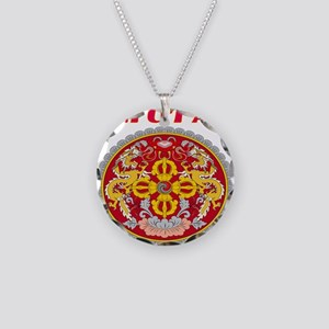 Bhutan Coat of arms Necklace Circle Charm