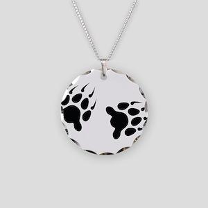Bear Tracks Necklace Circle Charm