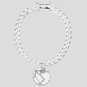 Skater Skeleton Charm Bracelet, One Charm