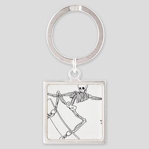 Skater Skeleton Square Keychain