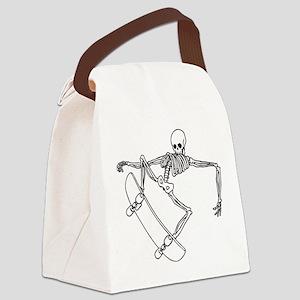 Skater Skeleton Canvas Lunch Bag