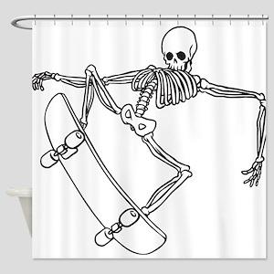 Skater Skeleton Shower Curtain