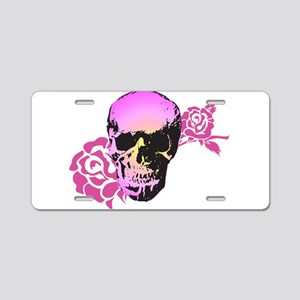 Skull and Roses Aluminum License Plate