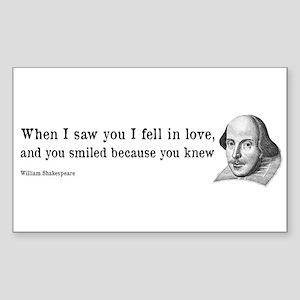 Shakespeare on Love (Hamlet) Sticker (Rectangle)