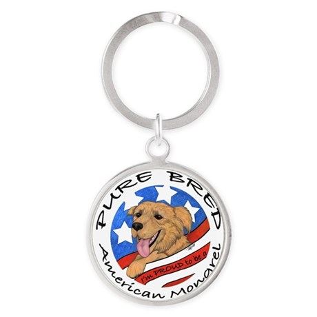 Pure Bred American Mongrel REVISED Round Keychain