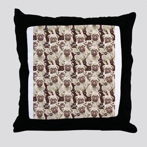 pug mural Throw Pillow