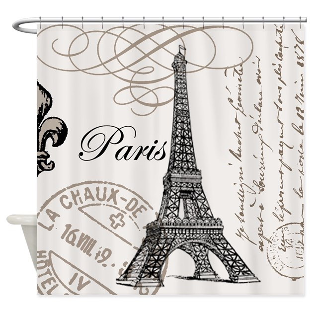 Vintage Eiffel Tower Shower Curtain By DesignsbyHeatherMyers1