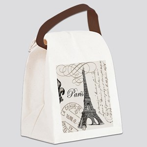 Vintage Eiffel Tower Canvas Lunch Bag