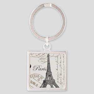 Vintage Eiffel Tower Square Keychain