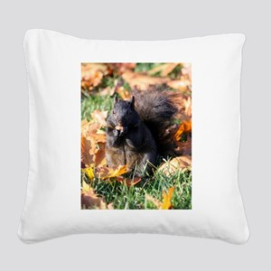 Squirrel Eating Square Canvas Pillow