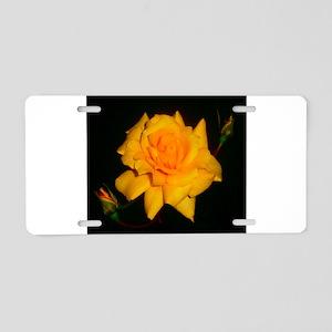 Yellow rose Aluminum License Plate