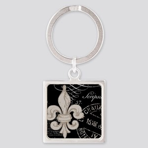 Vintage Fleur de Lis Square Keychain