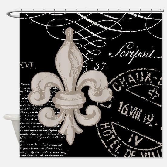 Vintage Fleur de Lis Shower Curtain