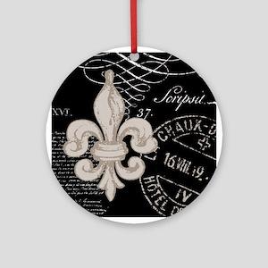 Vintage Fleur de Lis Ornament (Round)
