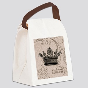 Vintage Crown Canvas Lunch Bag
