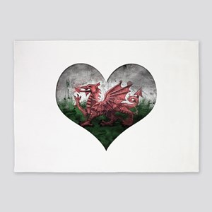 Welsh heart 5'x7'Area Rug