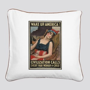 """""""Wake Up!"""" Square Canvas Pillow"""