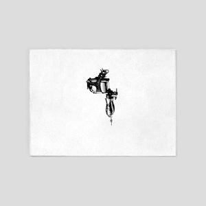 Tattoo Machine Gun Pop Art 5'x7'Area Rug