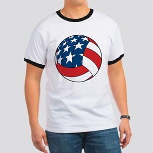 American Flag Volleyball Ringer T