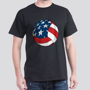 American Flag Volleyball Dark T-Shirt