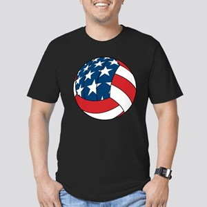 American Flag Volleyball Men's Fitted T-Shirt (dar