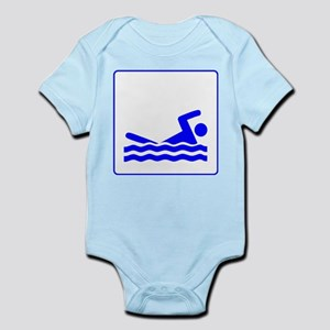 Blue Swimming Icon Infant Bodysuit