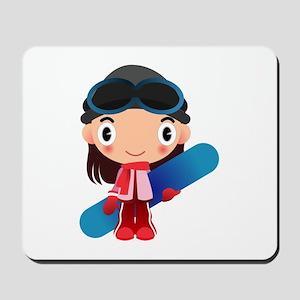Snowboarder Girl Cartoon Mousepad
