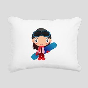 Snowboarder Girl Cartoon Rectangular Canvas Pillow