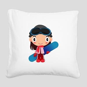 Snowboarder Girl Cartoon Square Canvas Pillow