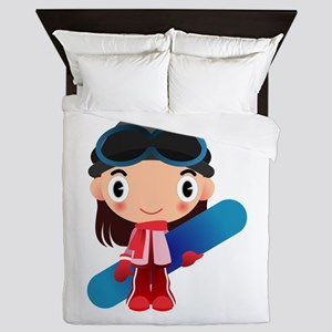 Snowboarder Girl Cartoon Queen Duvet