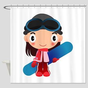 Snowboarder Girl Cartoon Shower Curtain
