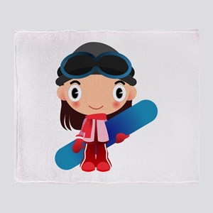 Snowboarder Girl Cartoon Throw Blanket