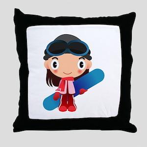 Snowboarder Girl Cartoon Throw Pillow