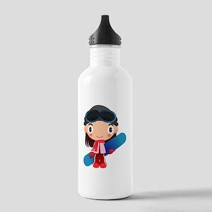 Snowboarder Girl Cartoon Stainless Water Bottle 1.