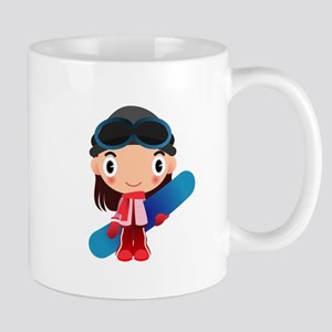 Snowboarder Girl Cartoon Mug