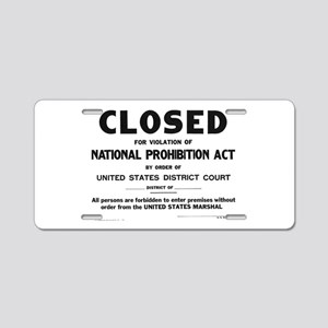 Prohibition Sign Aluminum License Plate