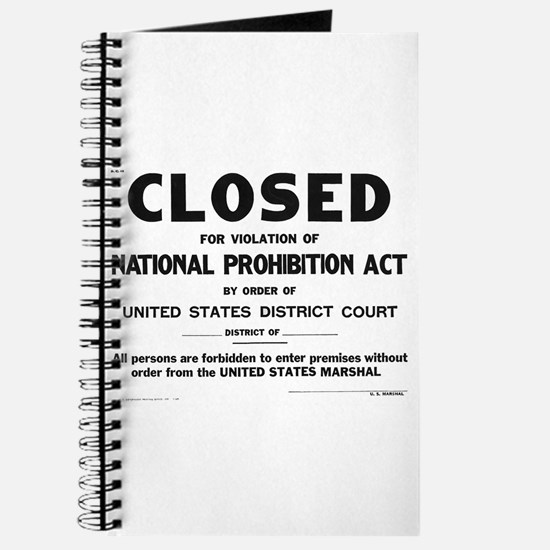 Prohibition Sign Journal