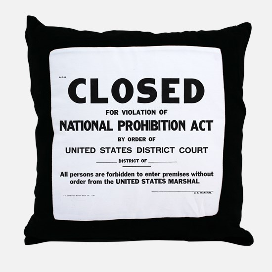 Prohibition Sign Throw Pillow