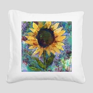 Sunflower Sunday Art Square Canvas Pillow