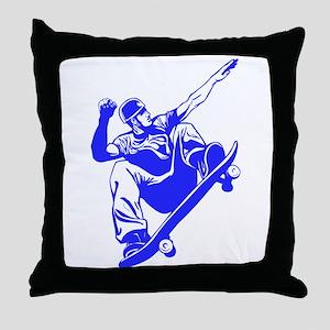 Blue Skateboarder Jump Throw Pillow