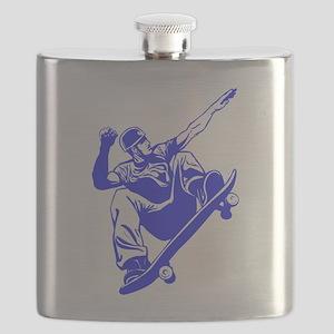 Blue Skateboarder Jump Flask