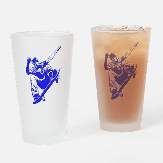 Blue Skateboarder Jump Drinking Glass